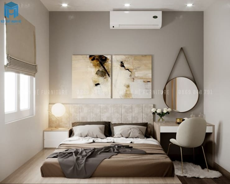 Vách ốp gỗ công nghiệp đầu giường ấn tượng và hiện đại bởi Công ty TNHH Nội Thất Mạnh Hệ Hiện đại