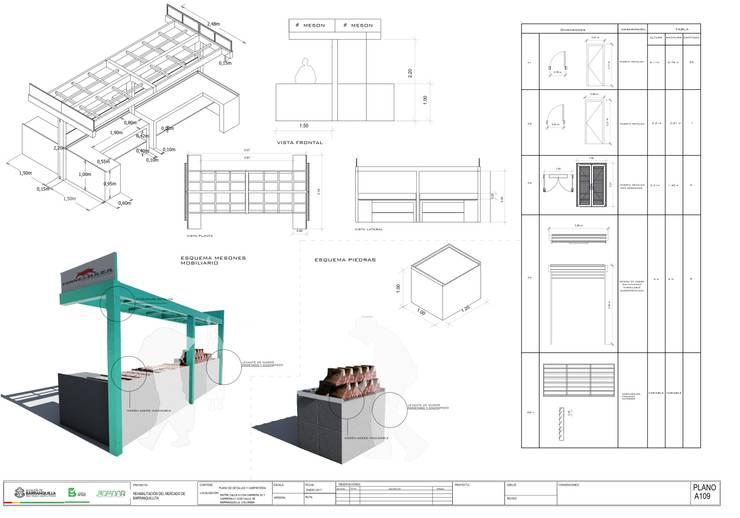 Detalles de mobiliario espacios comerciales Mercado de Barranquillita de Oleb Arquitectura & Interiorismo Tropical