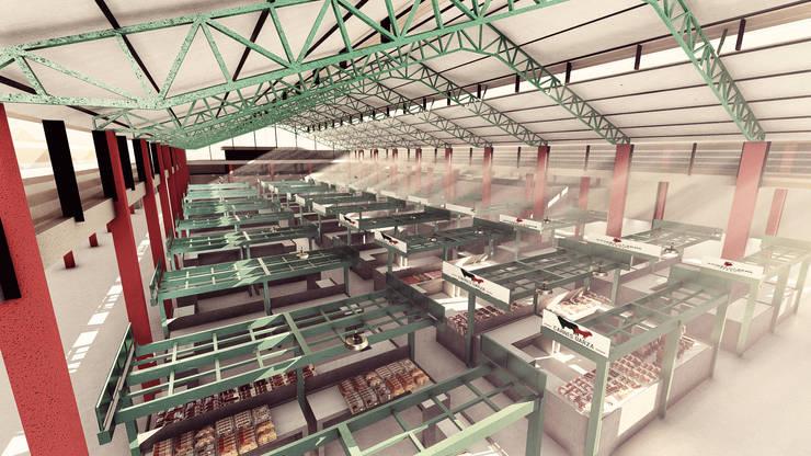 Vista interior de los puestos del Mercado de Barranquillita. de Oleb Arquitectura & Interiorismo Tropical