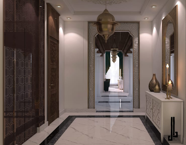 Private palace Modern Corridor, Hallway and Staircase by dal design office Modern