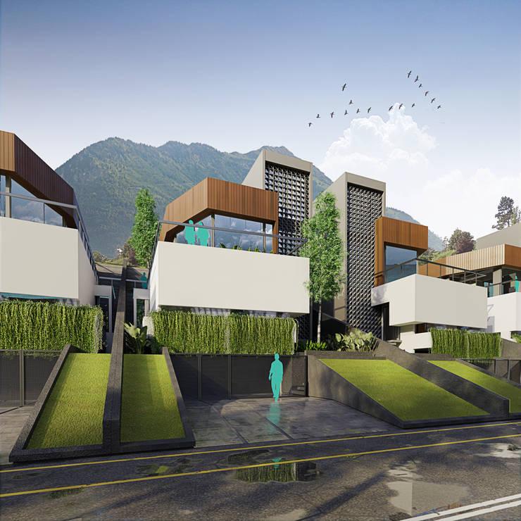 Fasad Depan Rumah Modern Oleh GUBAH RUANG studio Modern Batu Bata