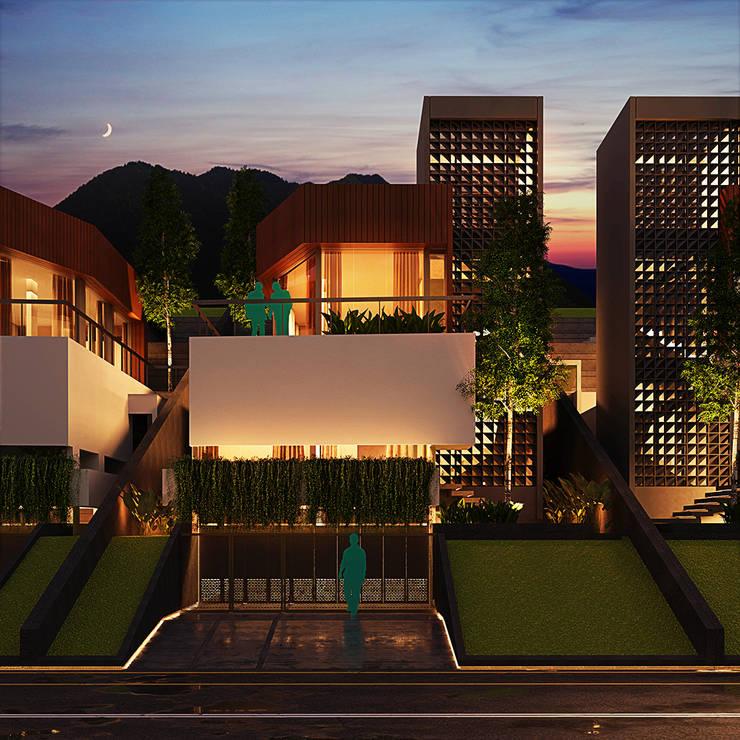 Fasad Depan - Malam Oleh GUBAH RUANG studio Modern Beton