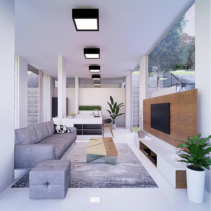Ruang Keluarga Ruang Keluarga Modern Oleh GUBAH RUANG studio Modern Kaca