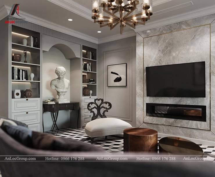 Nội thất chung cư tân cổ điển 133m2 tại Discovery Complex Phòng khách phong cách kinh điển bởi Nội Thất An Lộc Kinh điển