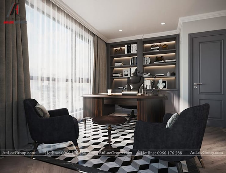 Nội thất chung cư tân cổ điển 133m2 tại Discovery Complex Phòng học/văn phòng phong cách kinh điển bởi Nội Thất An Lộc Kinh điển