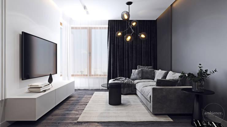 Kontrastowa elegancja Nowoczesny salon od Ambience. Interior Design Nowoczesny