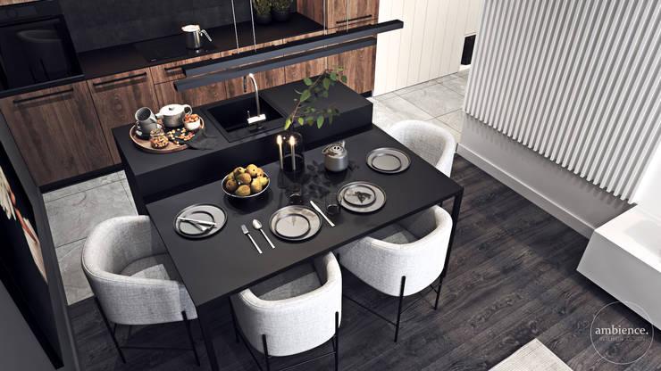 Kontrastowa elegancja Nowoczesna jadalnia od Ambience. Interior Design Nowoczesny