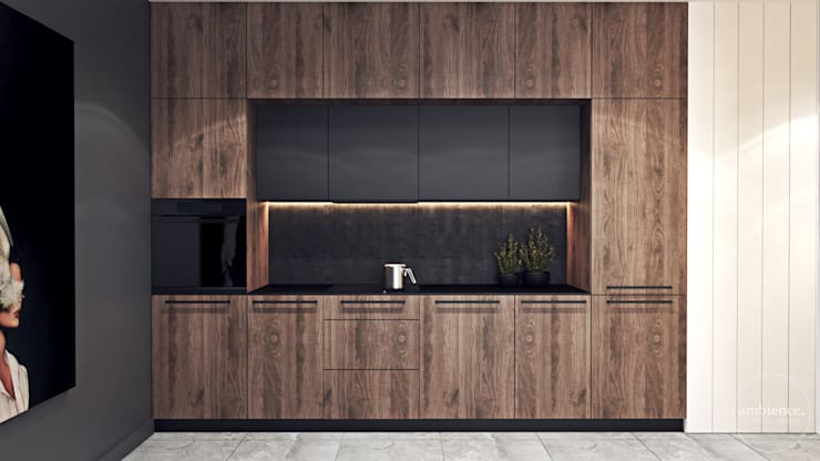 Kontrastowa elegancja Nowoczesna kuchnia od Ambience. Interior Design Nowoczesny