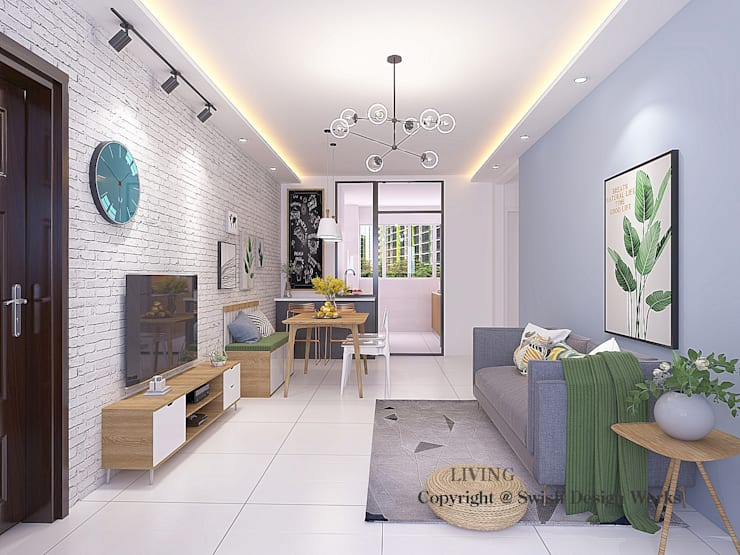 Living Area Scandinavian style living room by Swish Design Works Scandinavian Plywood
