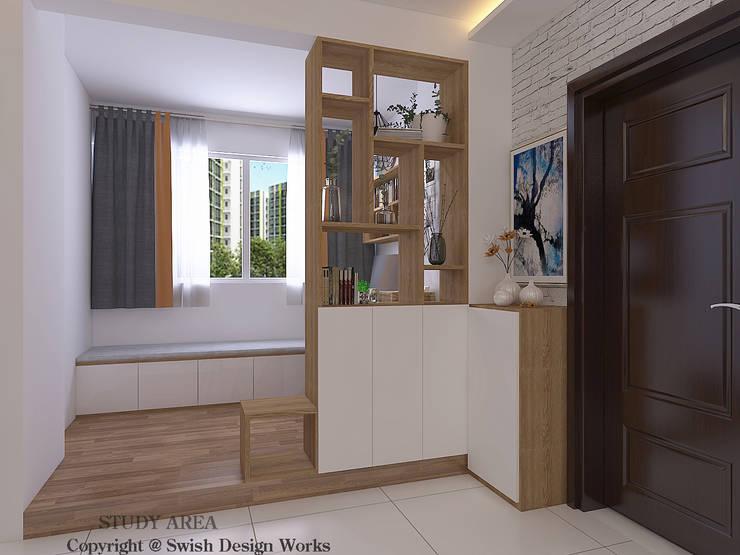 Entrance Scandinavian style corridor, hallway& stairs by Swish Design Works Scandinavian Plywood