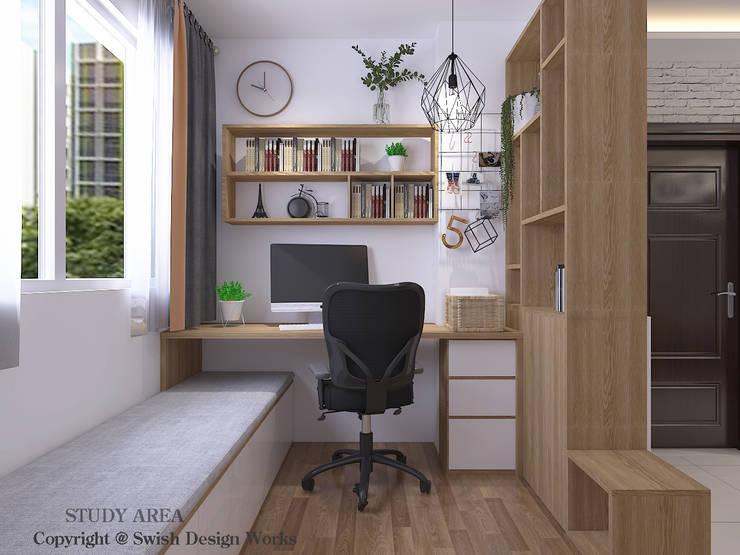 Study Area Scandinavian style study/office by Swish Design Works Scandinavian Plywood