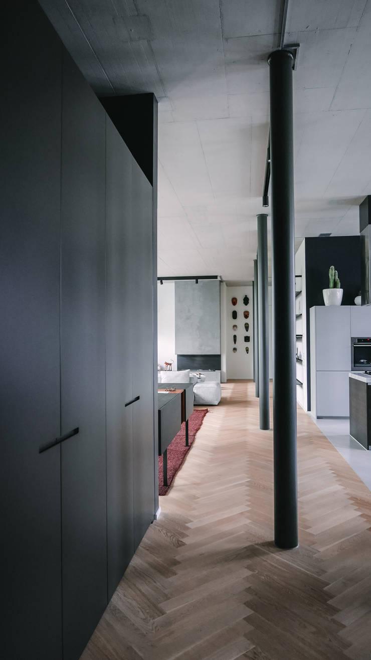 Loft Modern Corridor, Hallway and Staircase by Anastasia Schuler Design Modern