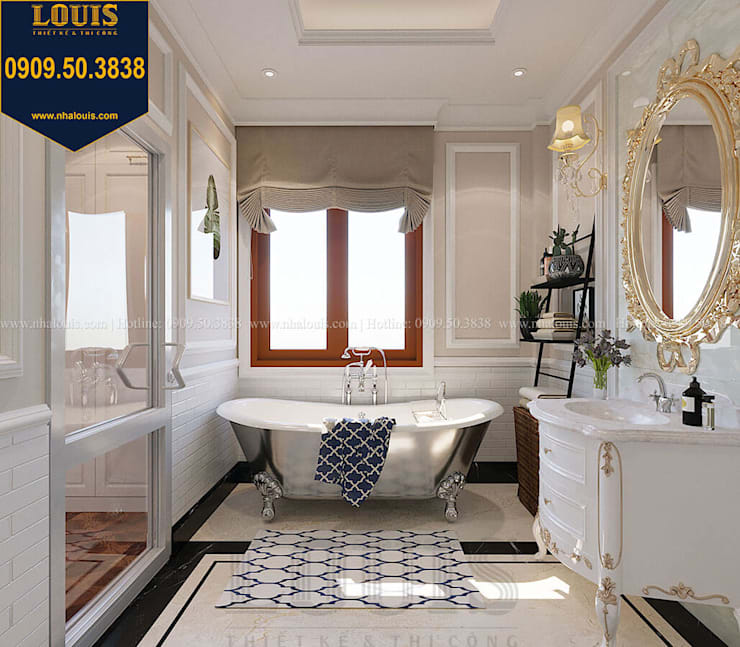 Mẫu phòng tắm phong cách tân cổ điển ngọt ngào bởi Công Ty Thiết Kế Xây Dựng LOUIS