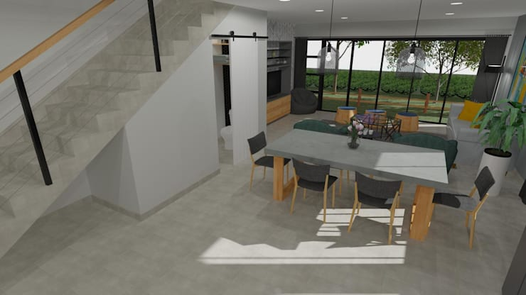 3D Rendered Dining Room Modern dining room by RooMoo Modern