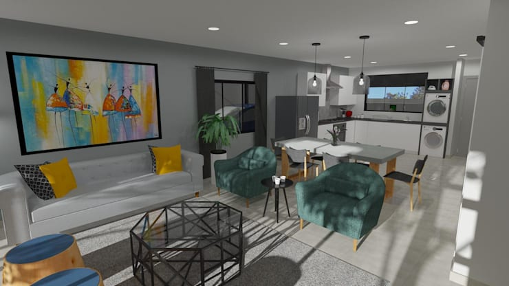 3D Rendered Lounge Modern living room by RooMoo Modern