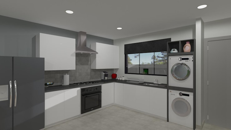 3D Rendered Kitchen by RooMoo Modern