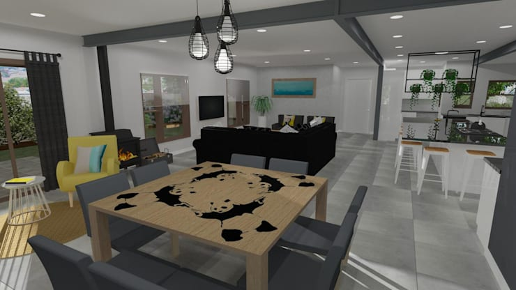 Dining Room with Custom Furniture Modern dining room by RooMoo Modern