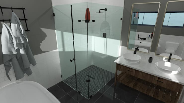 Bathroom 3D Design Modern bathroom by RooMoo Modern
