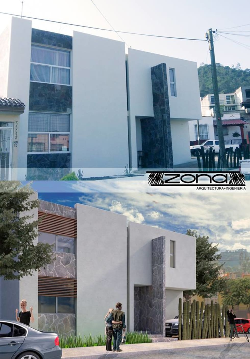 Casa de dos pisos construida en un pequeño terreno