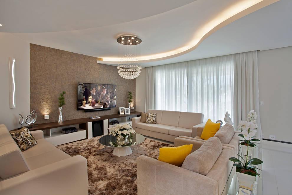 Casa Swiss Park Campinas II: Salas de estar modernas por Designer de Interiores e Paisagista Iara Kílaris