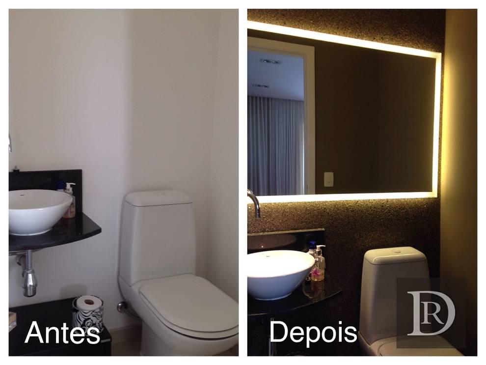 Antes e Depois | Lavabo:   por Debora de Rezende | arquitetura e interiores