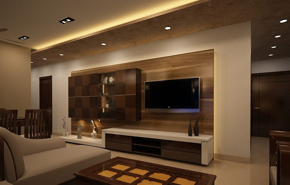 Residential Interiors:  Living room by Prism Architects & Interior Designers