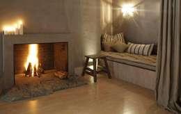 hotel spa: rustikale Wohnzimmer von c+c interiors berlin