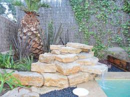piedras como jardinera y como fuente