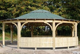 حديقة تنفيذ EcoCurves - Bespoke Glulam Timber Arches