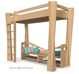 Banquettes et lit surélevé TrapèZe de ZineZoé: Chambre d'enfants de style  par ZineZoé