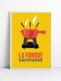 Affiche La fondue (jaune): Couloir, entrée, escaliers de style de style eclectique par CosyNEVE