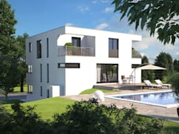 Hommage 327 Gartenansicht: moderne Häuser von Hanlo Haus