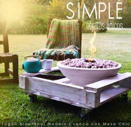 Fogón a bioetanol modelo Cuenco + Mesa Chic: Arte de estilo  por Simple Objetos Unicos