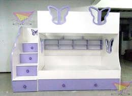 litera triple juvenil de mariposas: Recámaras de estilo moderno por camas y literas infantiles kids world