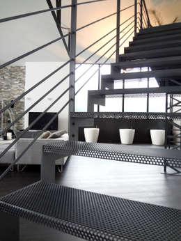 Maison contemporaine dans ancienhangar: Couloir, entrée, escaliers de style de style Moderne par KJBI DECO