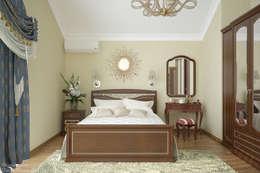 """Дизайн спальни в классическом стиле в коттеджном поселке """"Краснодарский"""": Спальни в . Автор – Студия интерьерного дизайна happy.design"""