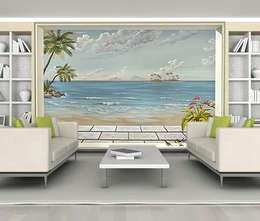 Poster géant trompe l'oeil vue sur mer tropicale.: Murs & Sols de style de style Tropical par Belmon Déco