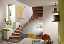 Corridor, hallway & stairs  by arcus Holztreppen