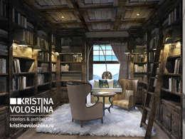 Библиотека в рустикальном стиле: Рабочие кабинеты в . Автор – kristinavoloshina