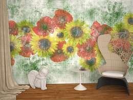 A' LA CARTE collection wallpaper on demand: Soggiorno in stile in stile Industriale di B+P architetti