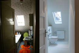 Bad vor und nach der Sanierung:   von Wohnwert Innenarchitektur