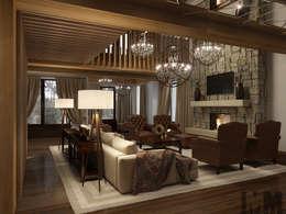 Загородный дом в стиле шале: Гостиная в . Автор – ММ-design