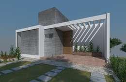 Fachada 02, casa Kompa-Enríquez: Casas de estilo moderno por Axios Arquitectos