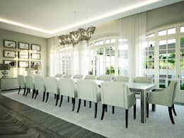 Projekty,  Jadalnia zaprojektowane przez Berga&Gonzalez - arquitectura y render