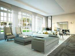 Projekty,  Salon zaprojektowane przez Berga&Gonzalez - arquitectura y render