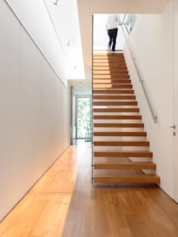 Bridge Over Water: modern Corridor, hallway & stairs by HYLA Architects