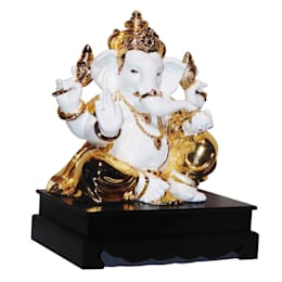 Jeweled Ganesha Statue/ Indian Hindu God Occasion Gifts / No Fear Gesture/ Polystone Sculpture/ Religious Idols Online/ Home Decor Figurine:  Artwork by M4design