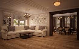 Гостиная коттеджа в г. Домодедово в классическом стиле.: Гостиная в . Автор – дизайн-бюро ARTTUNDRA