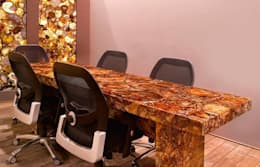Petrified Wood Conference Table With Agate Wall Panel:  Office spaces & stores  by Stonesmiths - Redefining Stone-Age