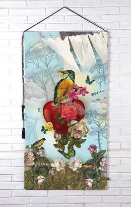 """Tapisserie murale """"Coeur de dentelle"""": Salon de style de style eclectique par OIA Objet d'Intérieur Abracadabran"""